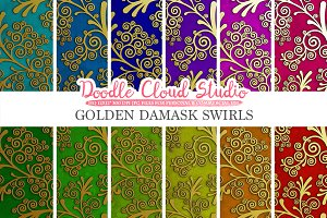 Golden Damask Swirls digital paper