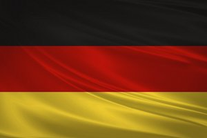 Germany flag blowing in the wind.