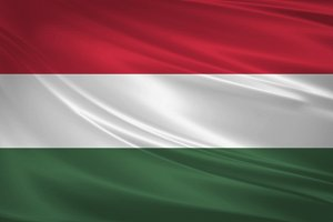 Hungary flag blowing in the wind.