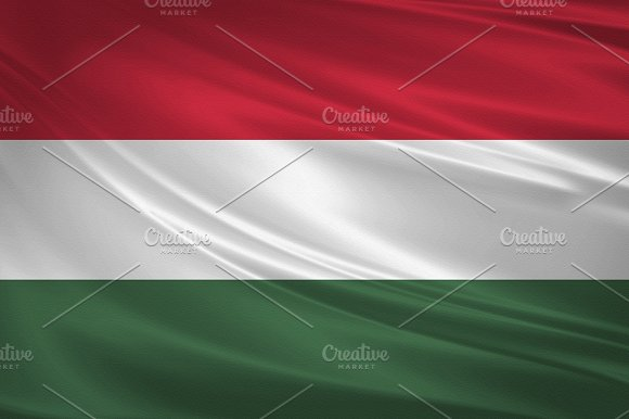 Hungary Flag Blowing In The Wind