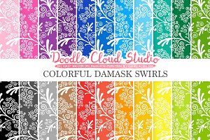 Colorful Damask Swirls digital paper