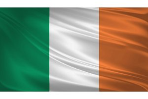 Ireland flag blowing in the wind.
