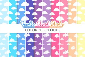 Colorful Clouds digital paper
