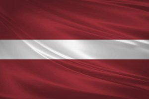 Latvia flag blowing in the wind.