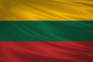 Lithuania flag blowing in the wind.