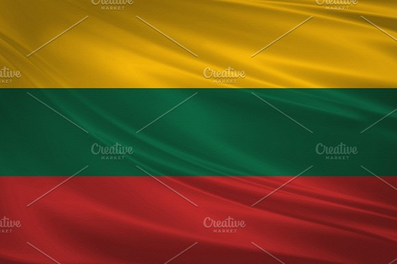 Lithuania Flag Blowing In The Wind