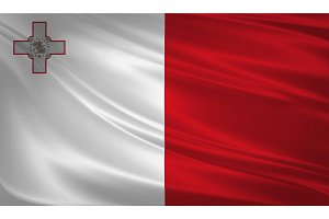 Malta flag blowing in the wind.