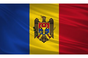 Moldova flag blowing in the wind.