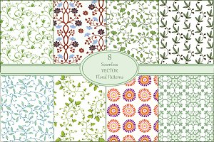 Seamless Floral Vector Patterns Set