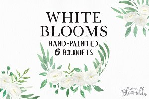 White Watercolor Flowers Clipart