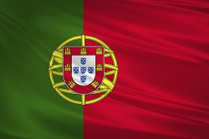 Portugal flag blowing in the wind.
