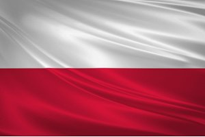 Poland flag blowing in the wind.