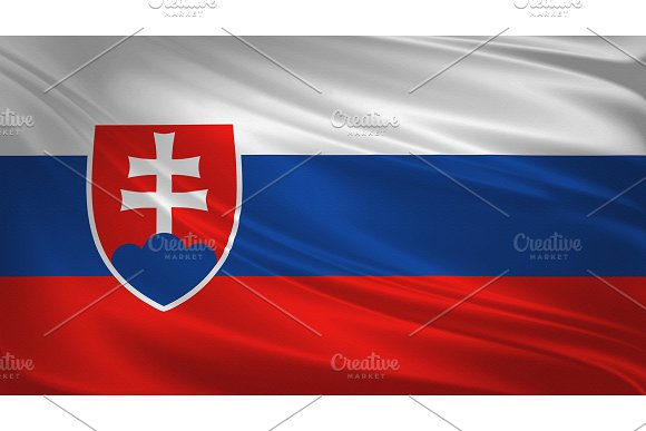 Slovakia Flag Blowing In The Wind