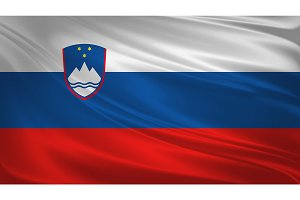 Slovenia flag blowing in the wind.