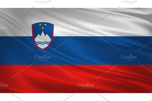 Slovenia Flag Blowing In The Wind