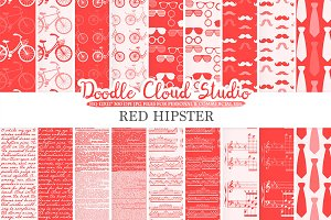 Red Hipster digital paper