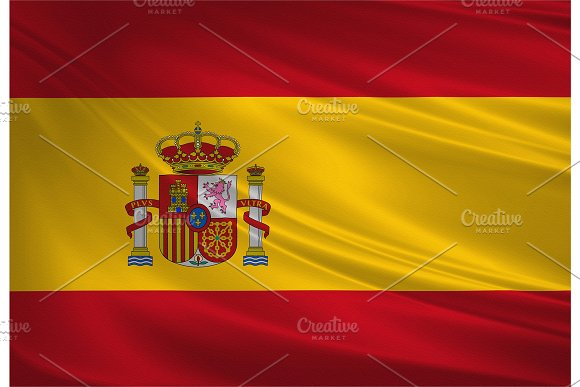 Spain Flag Blowing In The Wind