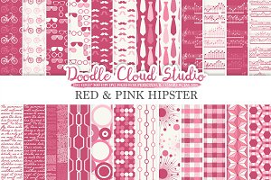 Red and Pink Hipster digital paper