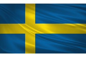 Sweden flag blowing in the wind.