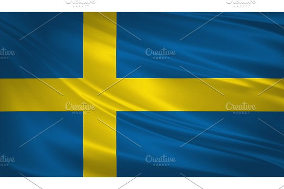 Sweden Flag Blowing In The Wind