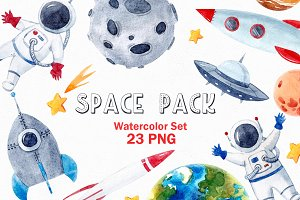 Watercolor Space Pack (PNG)