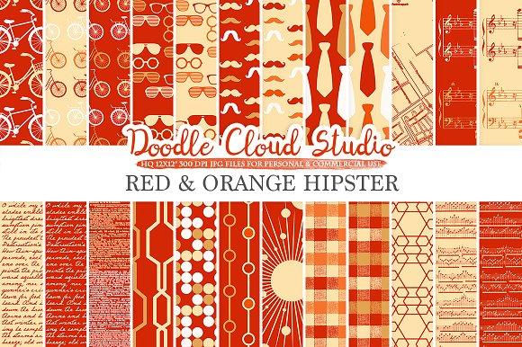 Red And Orange Hipster Digital Paper