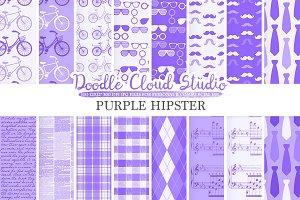 Purple Hipster digital paper,