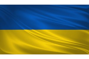 Ukraine flag blowing in the wind.