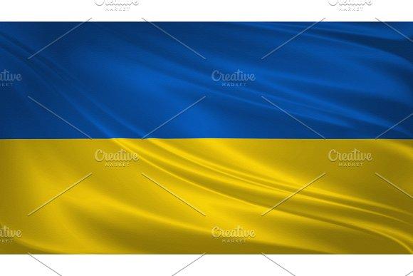 Ukraine Flag Blowing In The Wind