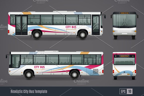 Bus Realistic Set Graphic Objects Creative Market