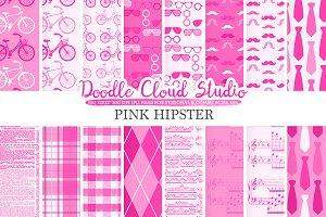 Pink Hipster digital paper