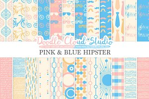 Pink and Blue Hipster digital paper