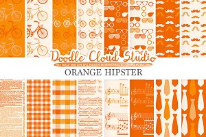 Orange Hipster digital paper