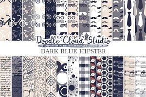 Navy Blue Cream Gray Hipster digital