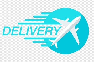 Fast Air Delivery Blue Vector Logo