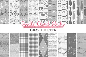 Grey Hipster digital paper