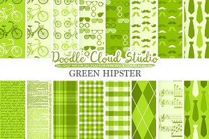 Green Hipster digital paper