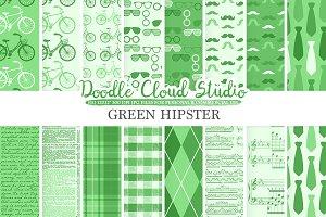 Dark Green Hipster digital paper