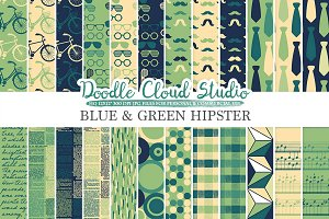 Blue and Green Hipster digital paper