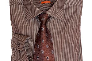 Folded brown striped men's shirt