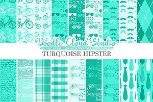 Aqua Hipster digital paper