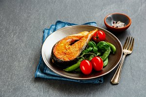 Grilled salmon steak