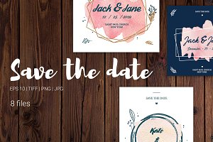 8 watercolor save the date templates