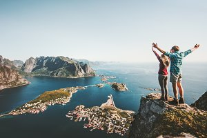 Happy Couple on cliff in Norway