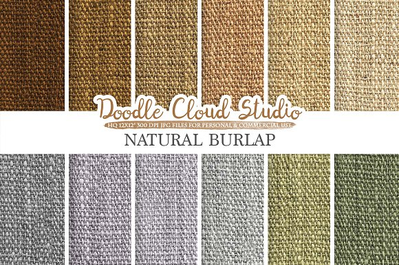 Natural Burlap Fabric Digital Paper