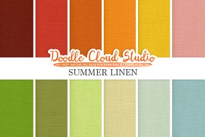 Colorful Summer Linen Fabric digital