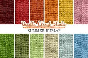 Colorful Summer Burlap Fabric