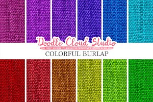 Colorful Burlap Fabric digital paper