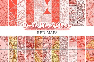 Red Vintage Maps digital paper