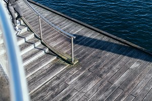 Wooden Stairs, Dock and Water
